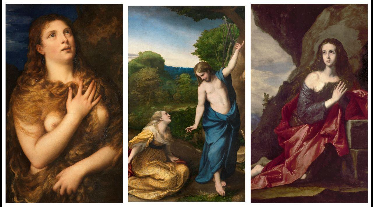 Detalle de una de las primeras versiones de Tiziano de la «Magdalena penitente» (circa 1530), un óleo que se conserva en el florentino palacio Pitti. «Noli me tangere» (c. 1525), de Correggio, y «Magdalena penitente» (1641), de José de Ribera, ambas obras forman parte de la colección del museo del Prado