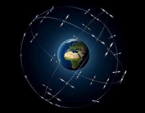 Recreación de los satélites Galileo en sus órbitas.