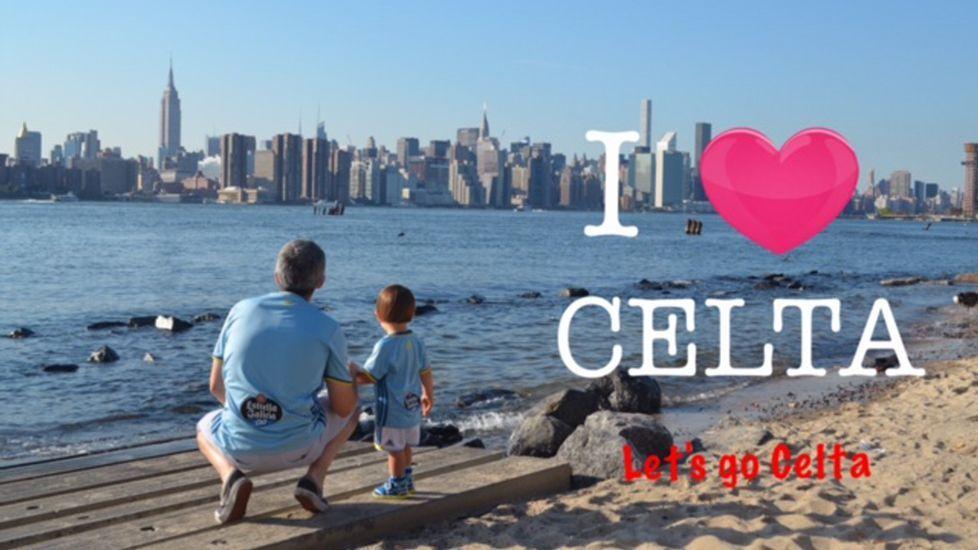 Dani Clemente, miembro de América Celeste, desde Nueva York con su hijo