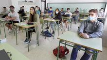 Alumnos del IES A Basella, en Vilanova de Arousa, cuando volvieron a clase a finales de mayo