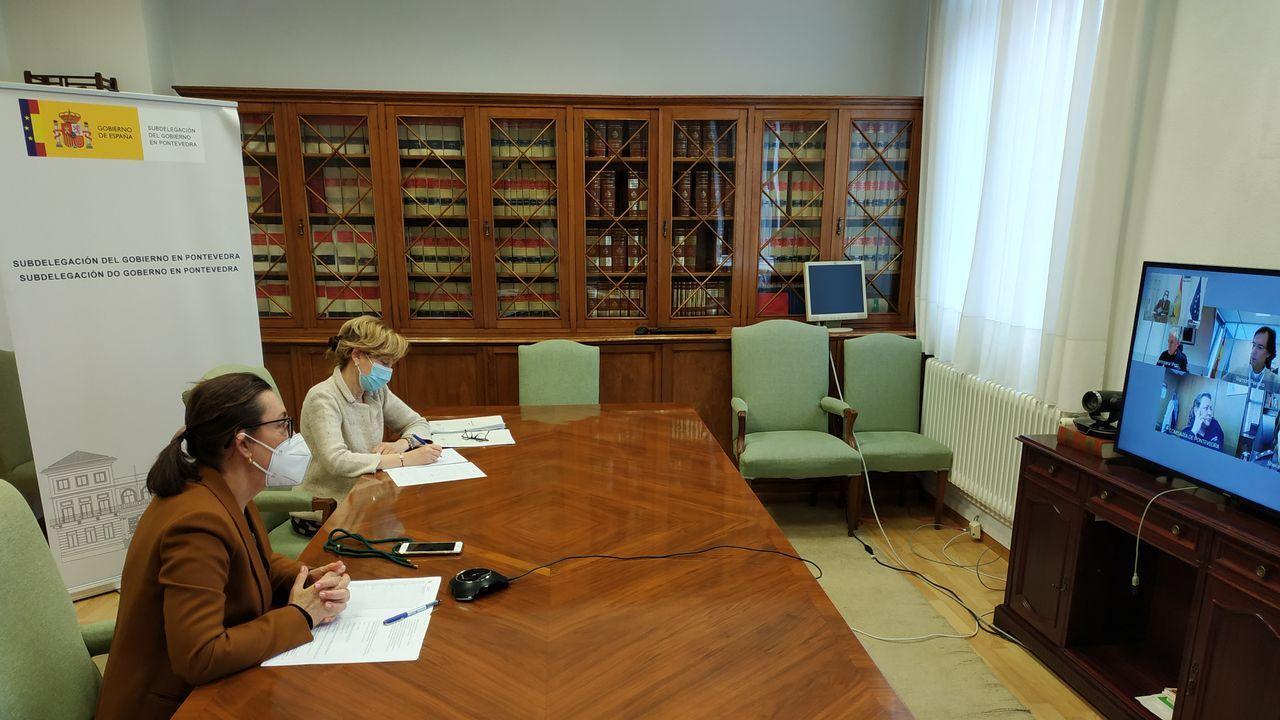 La subdelegada del Gobierno, Maica Larriba, en una reunión telemática con responsables policiales de la provincia.