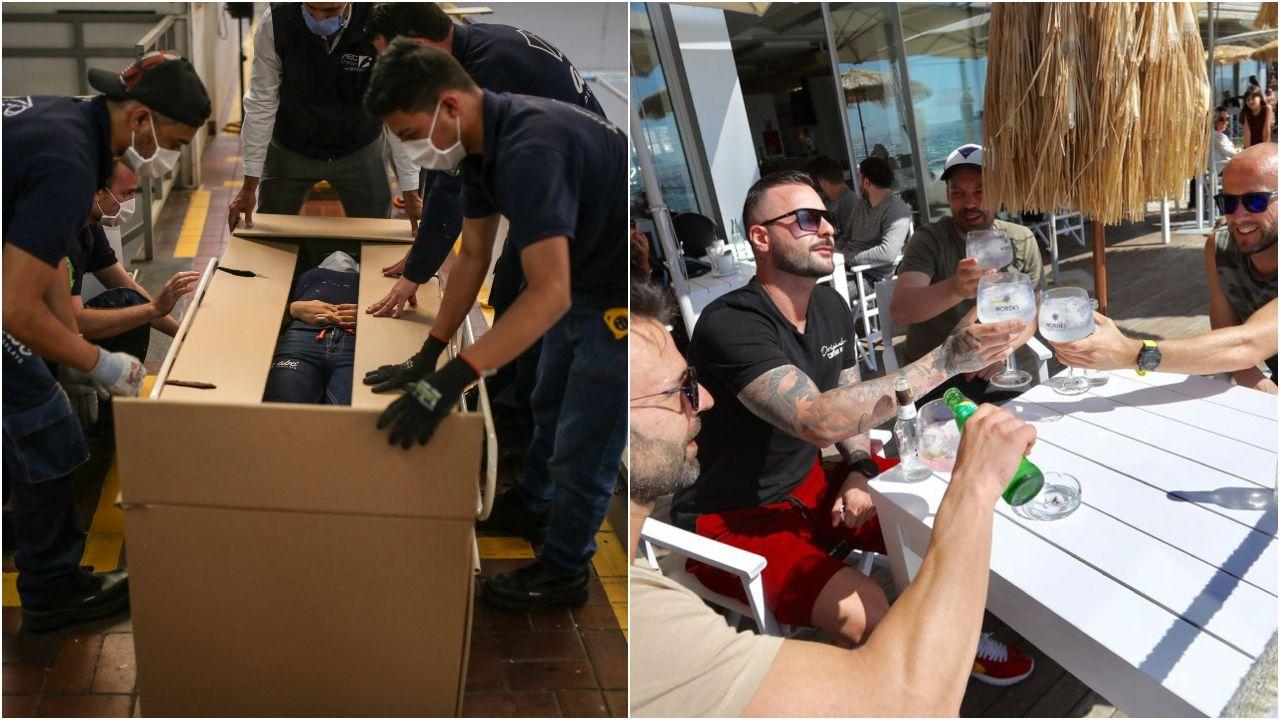 A la izquierda, la caja-ataúd patentada por la empresa colombiana ABC Displays. A la derecha, jóvenes disfrutando este sábado en una terraza