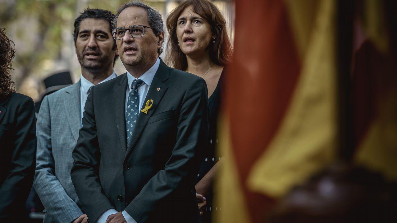 Ofrenda floral del Gobierno de Cataluña en el monumento de Rafael Casanova en Barcelona. En la imagen, Quim Torra.