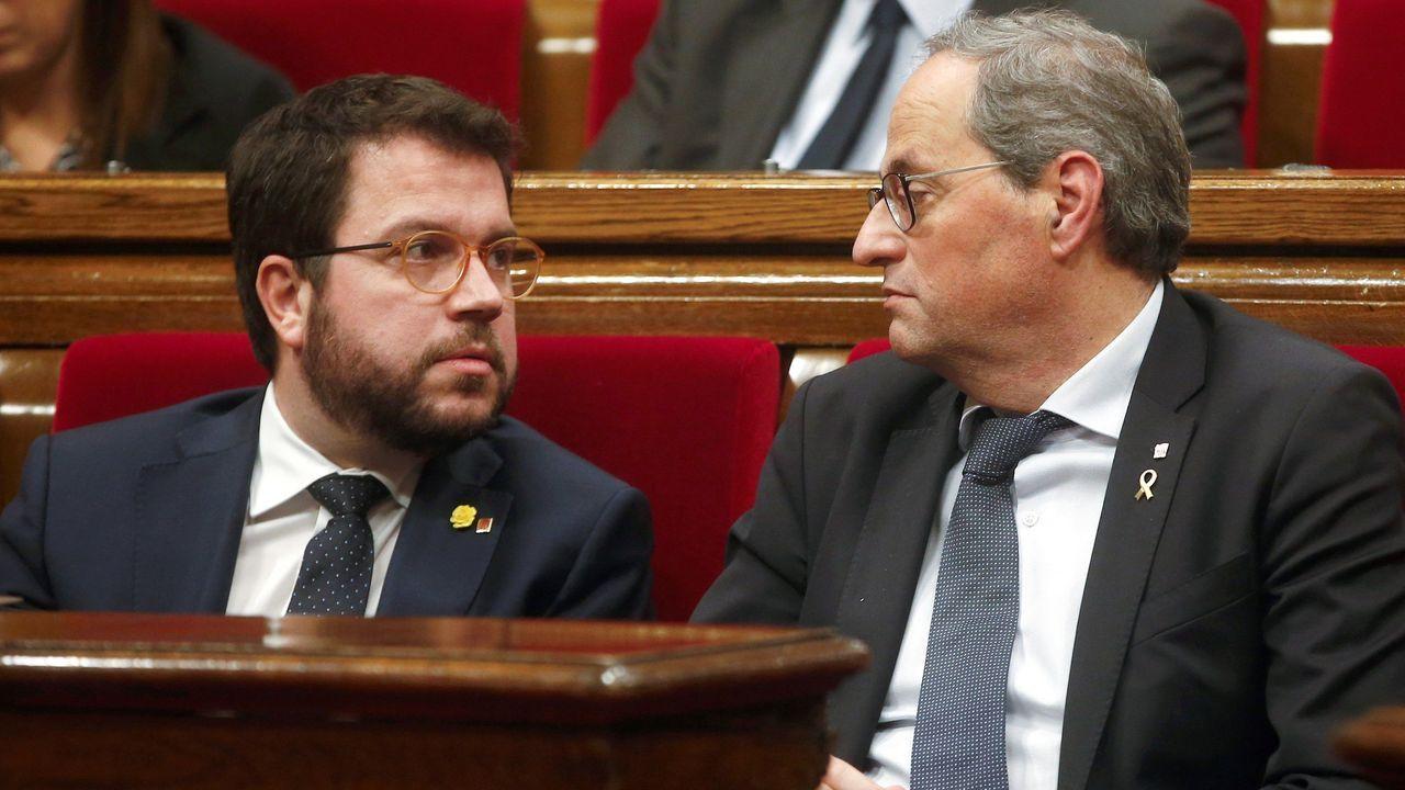 Pere Aragonès y Quim torra, el sábado, en el pleno del Parlamento de Cataluña
