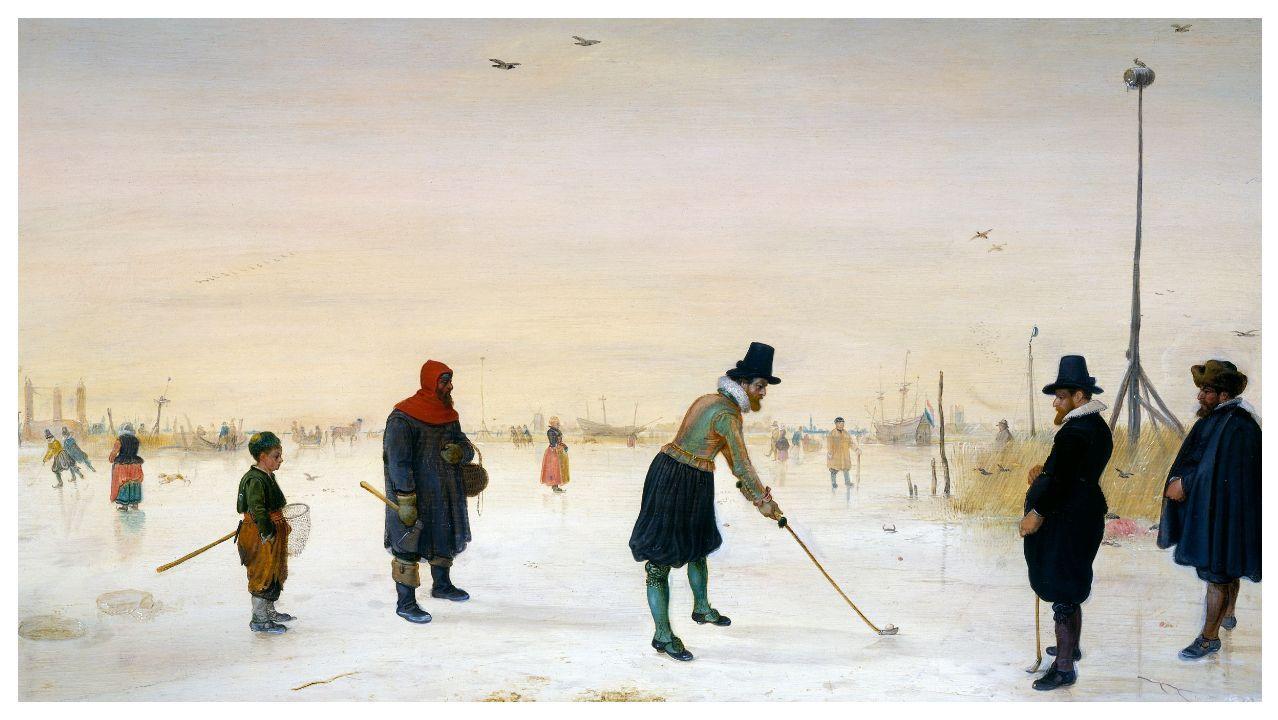 O noso planeta, en Afundación.Detalle del cuadro «Los jugadores de golf en el hielo» (1625), obra del pintor holandés Hendrick Avercamp (1585-1634)