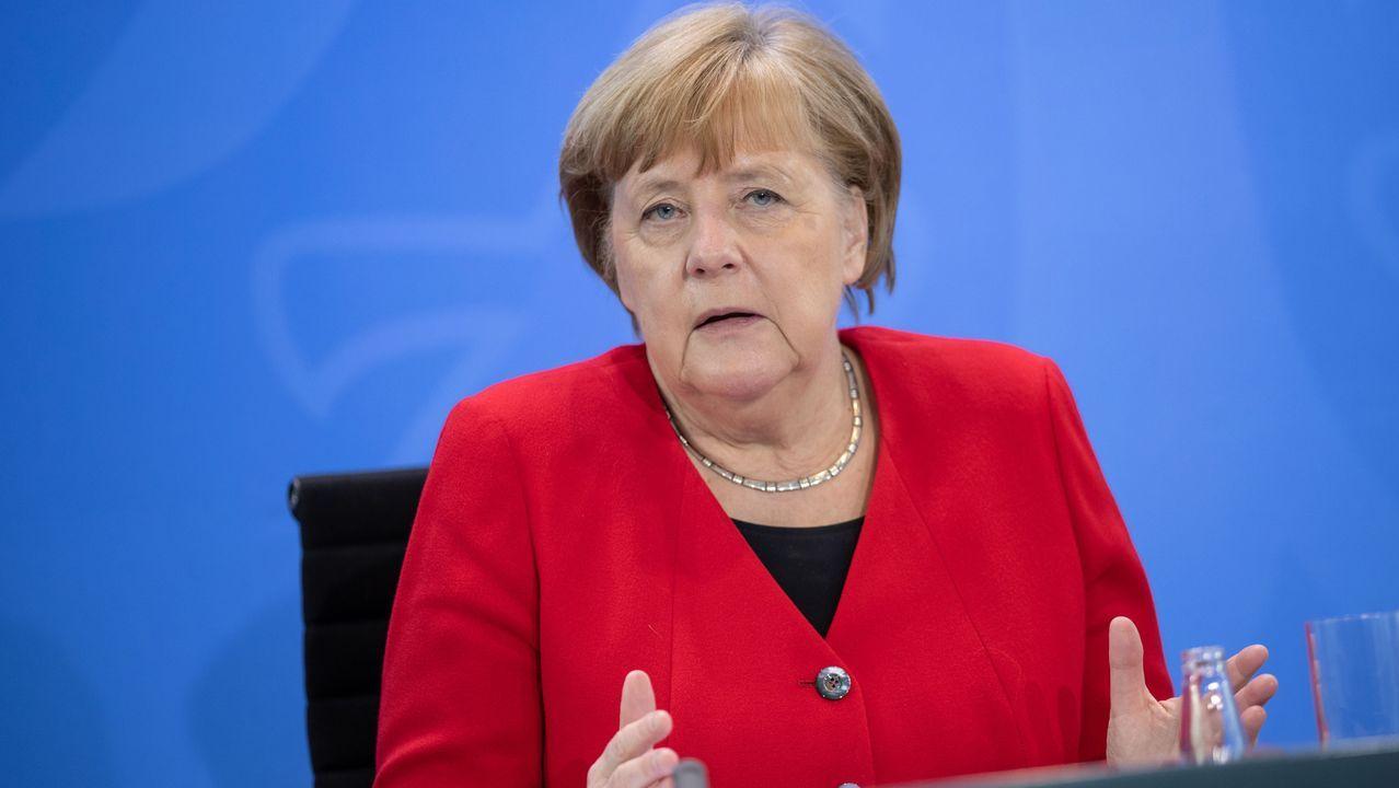 Merkel, durante la videoconferencia con los dirigentes de los 16 estados federales de Alemania