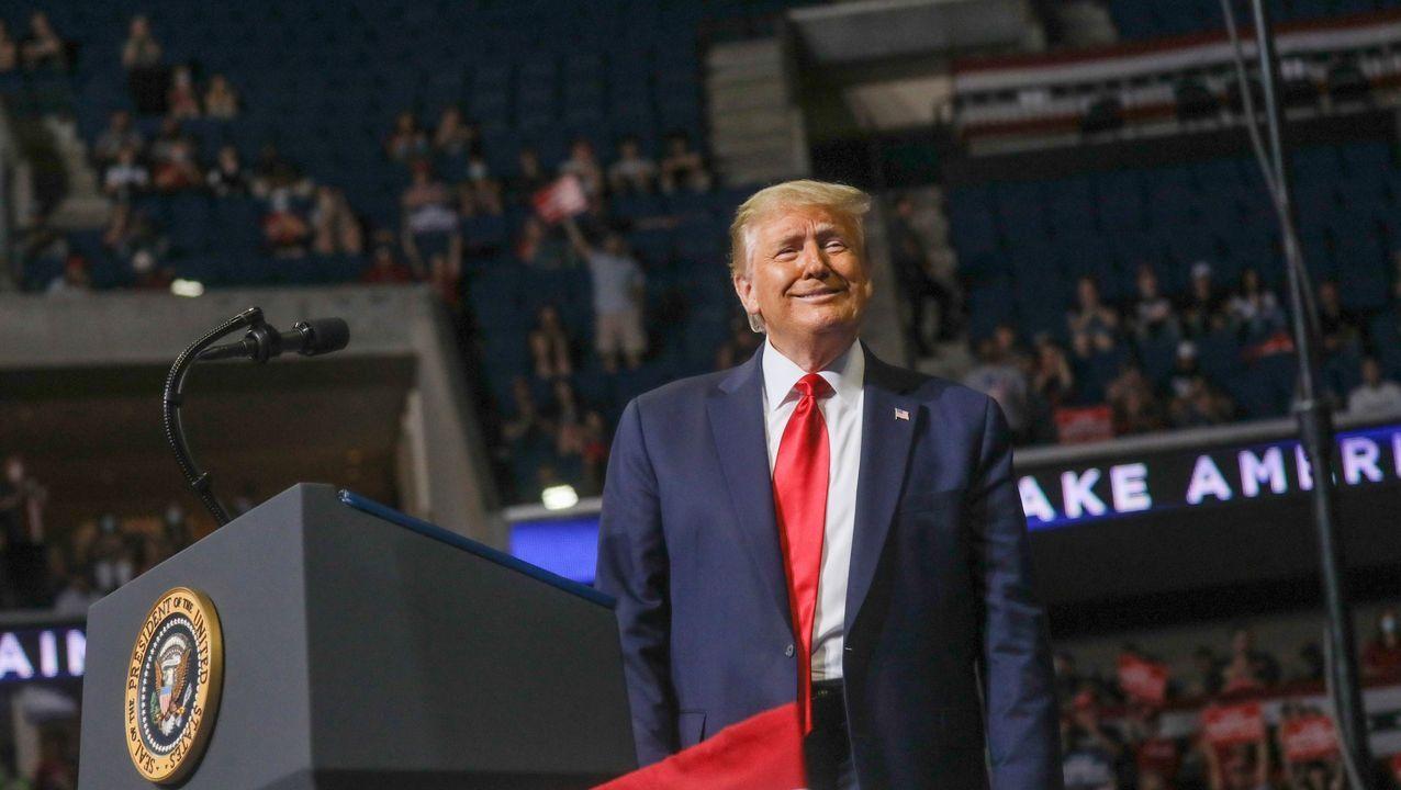 Trump, durante el mitin de Tulsa en junio