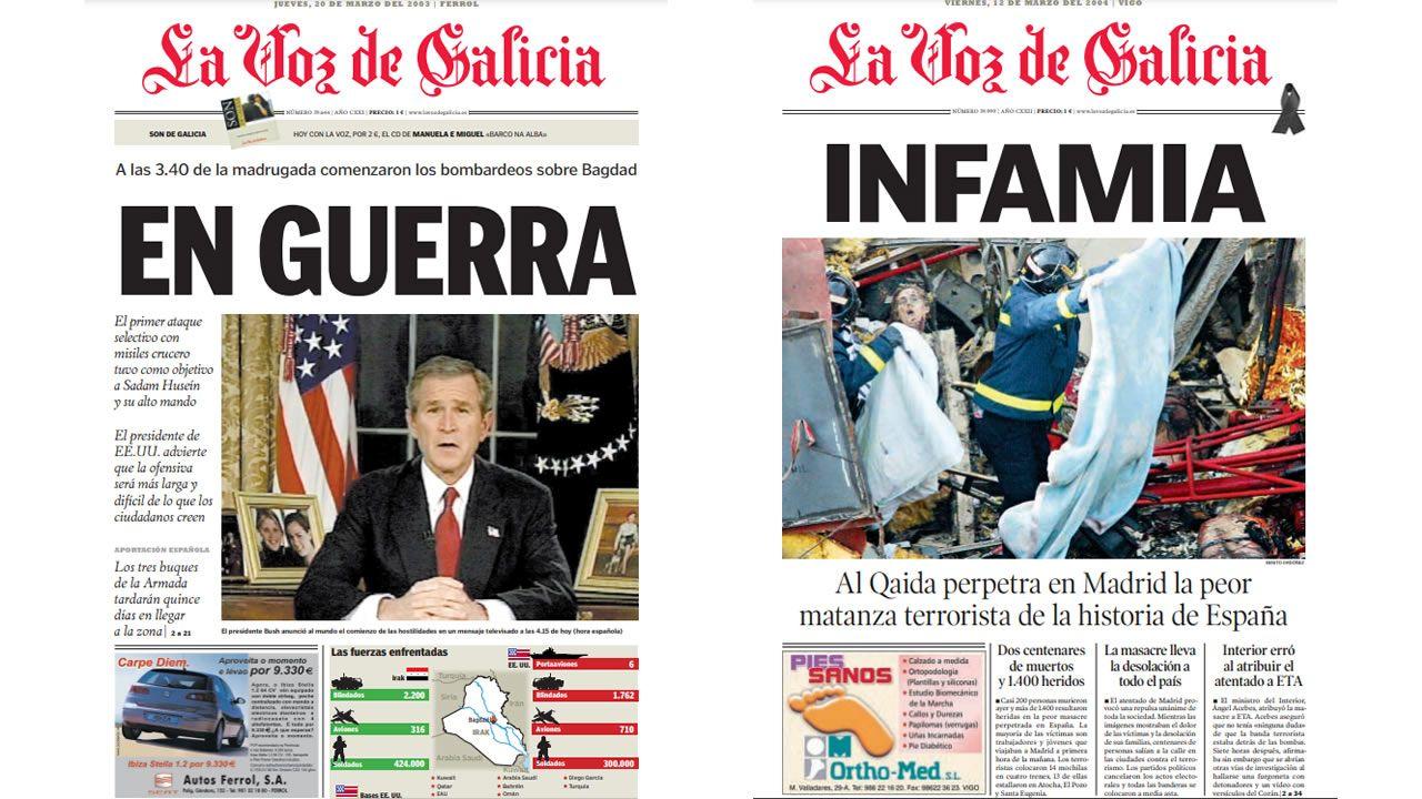 Dos portadas históricas de La Voz: el comienzo del bombardeo sobre Bagdad, en el 2003; y el atentado de Al Qaida en Madrid, en el 2004