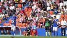 Joselu, exjugador del Lugo, se despide de la afición del Ángel Carro en su última visita con el Oviedo, en septiembre del 2019