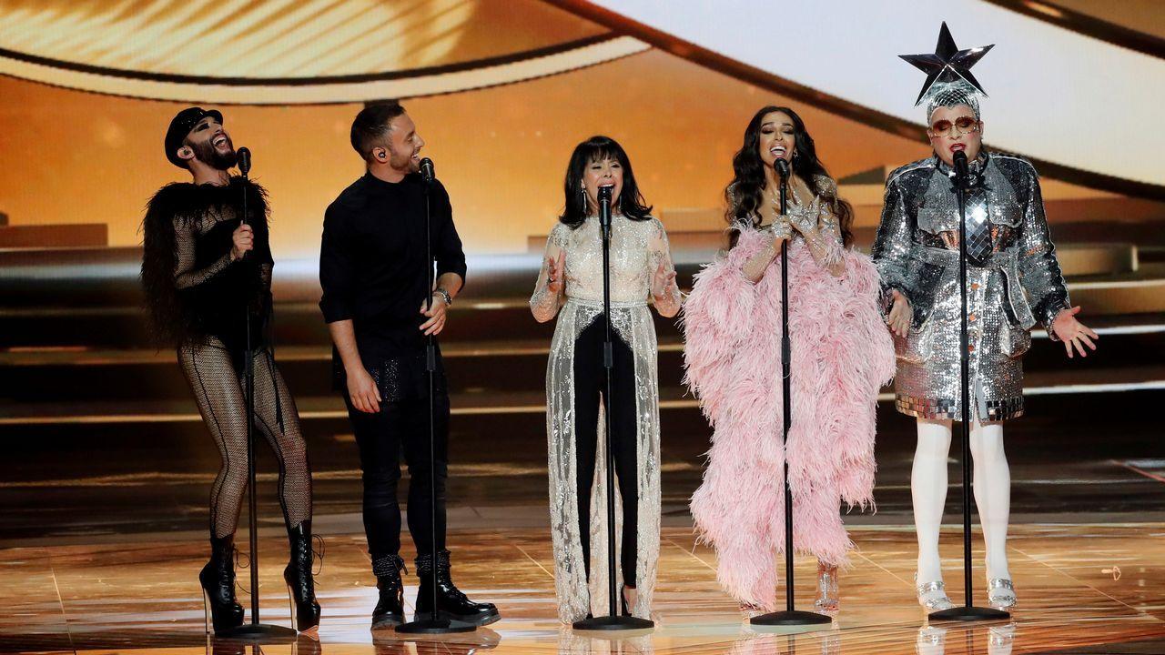 Netta Barzilai, de Israel.Conchita Wurst, Måns Zelmerlöw, Gali Atari, Eleni Foureira y Verka Serduchka, invitados en la gran final de Eurovisión