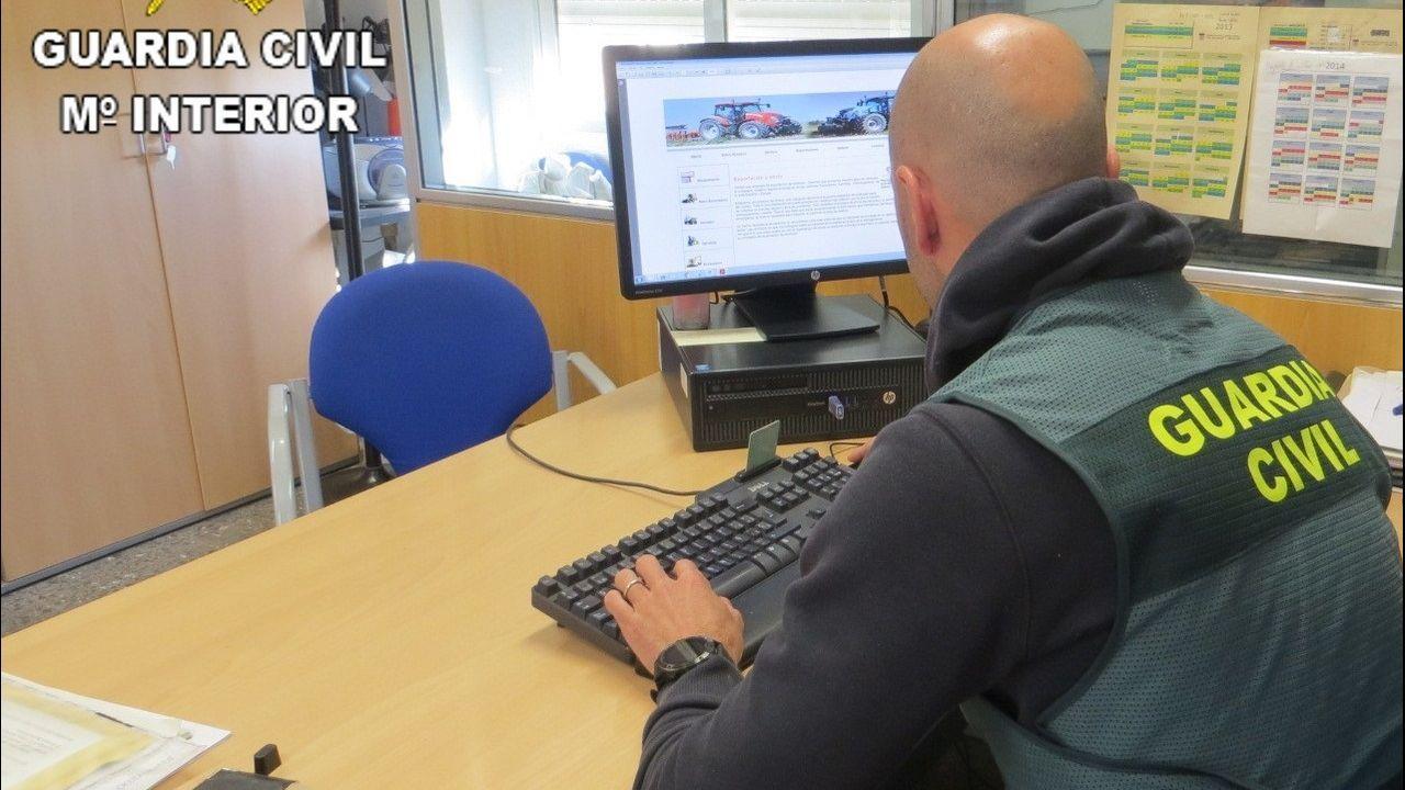 Un guardia civil examina en un ordenador los datos de una organización que estafó 120.000 euros vendiendo productos falsos a través de Internet