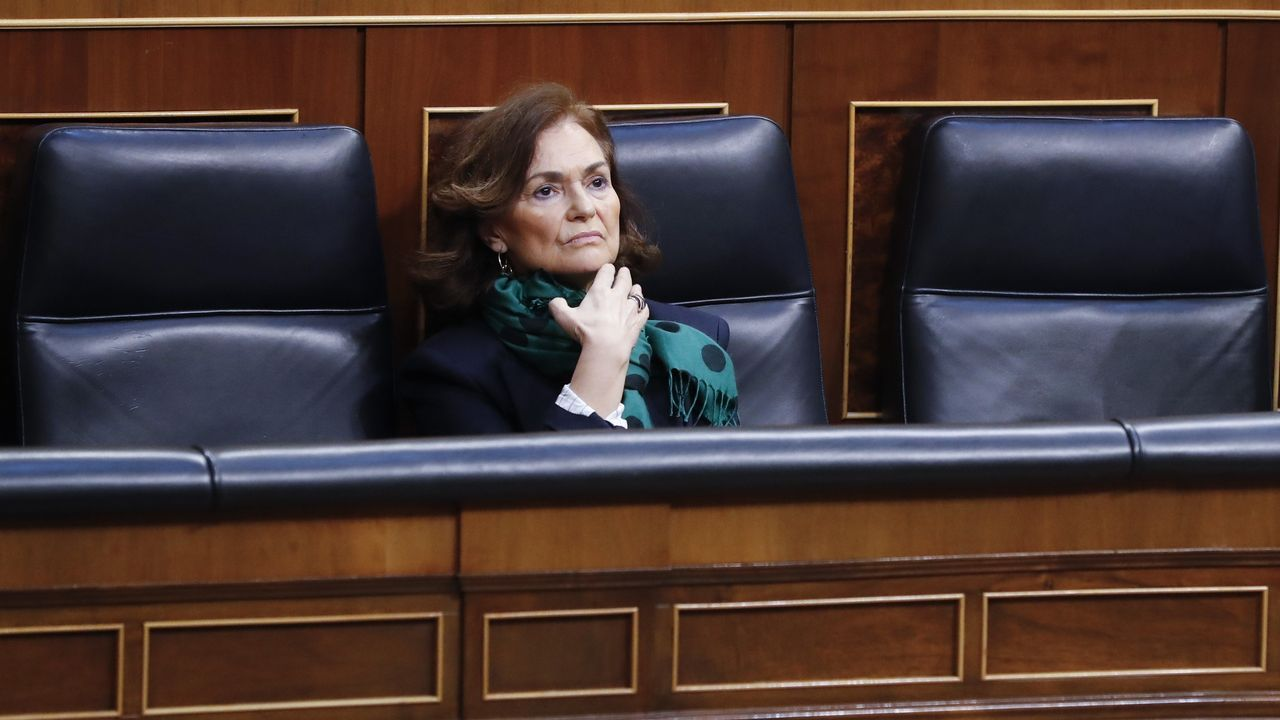 En directo: Comparece el presidente del CIS, José Félix Tezanos.La vicepresidenta Carmen Calvo, en la sesión de control de hoy en el Senado