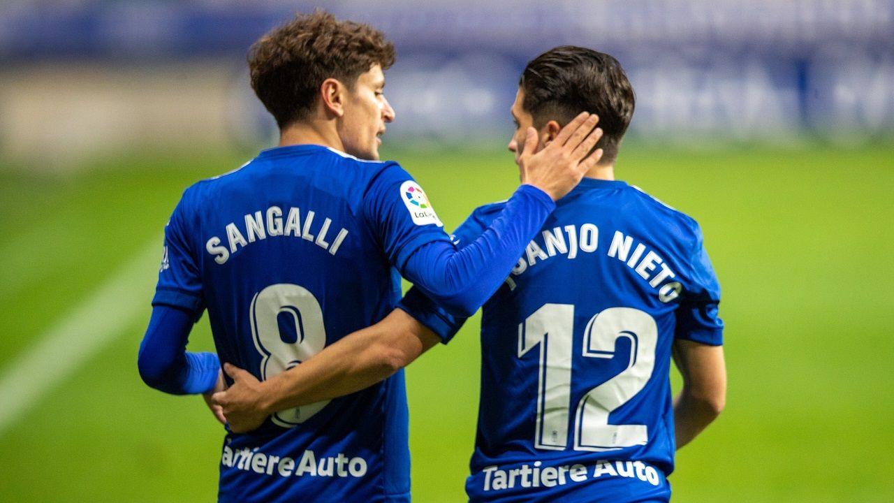 Sangalli Nieto Real Oviedo Logroñes Carlos Tartiere.Sangalli y Nieto, durante un encuentro