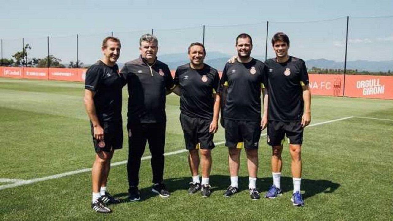 Unzué, a la derecha, en el equipo técnico de Eusebio en el Girona