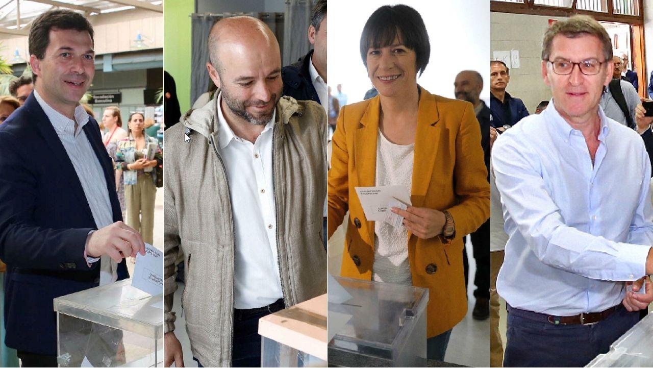 Gonzalo Caballero, Luís Villares, Ana Pontón y Alberto Núñez Feijoo, en sus respectivos colegios electorales