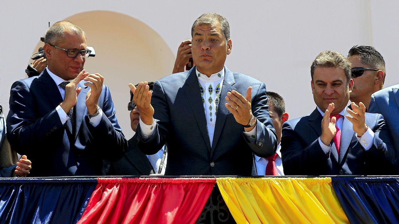 Rafael Correa, durante una ceremonia en el palacio de Carondelet durante su presidencia
