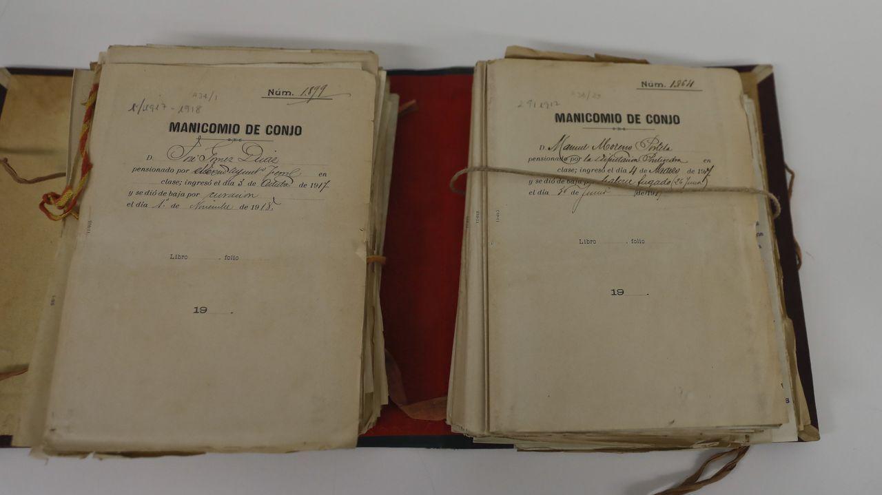 Documentación con los ingresos en el hospital de Conxo, entonces denominado manicomio