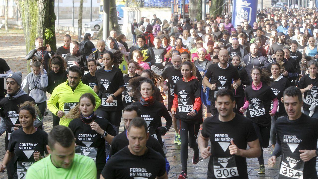 Ferrol corre y camina contra la violencia de género.De izquierda a derecha, Guillermo Ferrándiz, Borja San Ramón, Susana López y Rafael Pillado