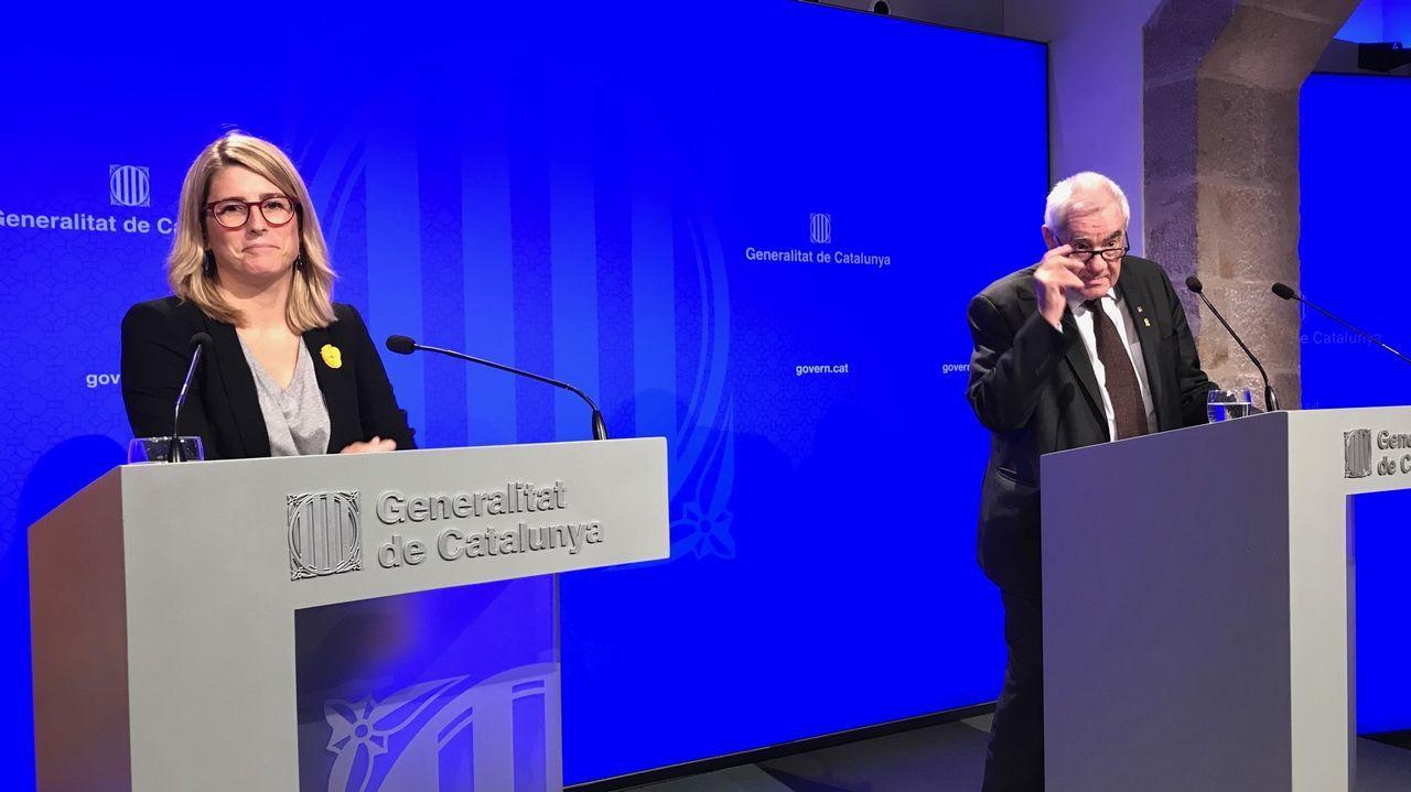 La portavoz del Govern, Elsa Artadi, y el conseller de Exteriores, Ernest Maragall