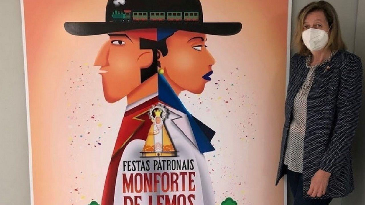 La concejala de Cultura, Marina Doutón, con el cartel elegido para anunciar las fiestas del 2020, que fueron suspendidas a causa de la situación sanitaria