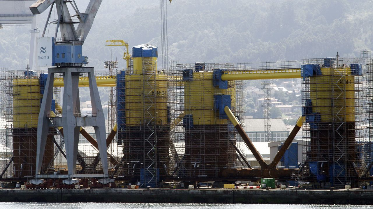 Estructuras que fabrican Navantia Fene y Windar para el parque marino Kinkardine, que estará ubicado en Escocia