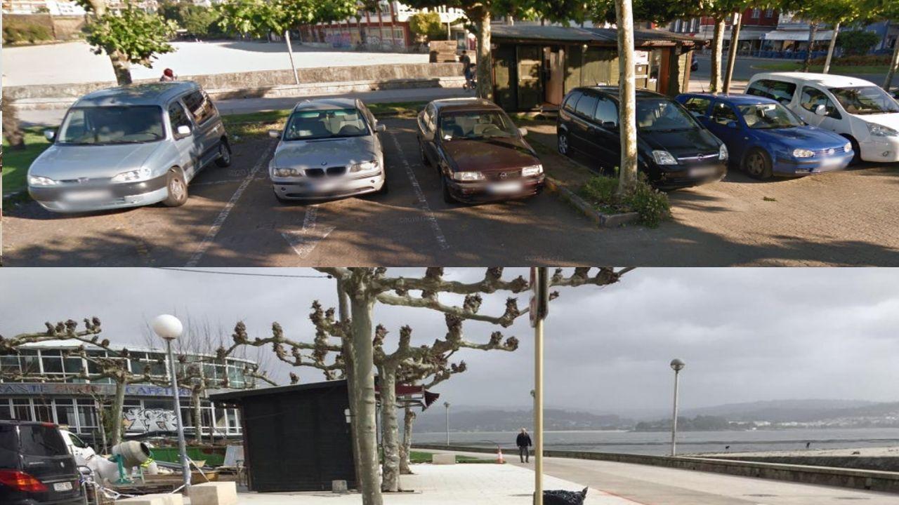 Arriba, las plazas de aparcamiento en las que entraban dos turismos y en la parte inferior la zona ganada al aparcamiento con la nueva obra