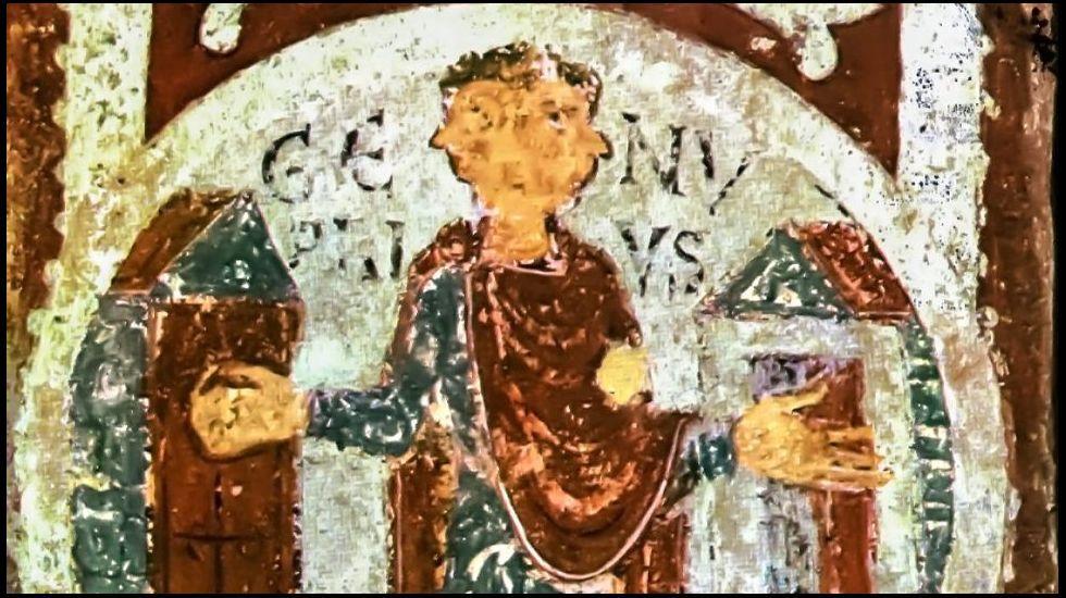 Pintura románica que representa al dios Jano. Panteón real de San Isidoro de León