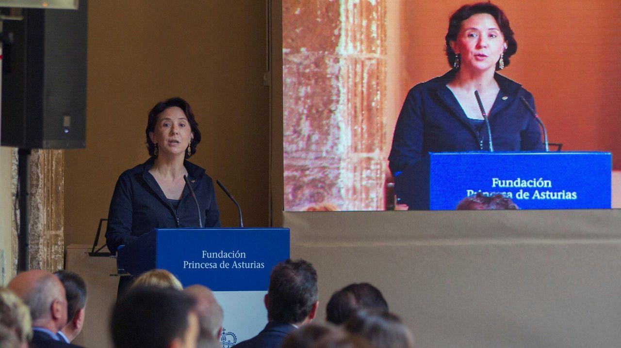 Teresa Sanjurjo directora de la Fundación Princesa de Asturias, durante su intervencion en el acto de la lección magistral que el director de orquesta Aarón Zapico