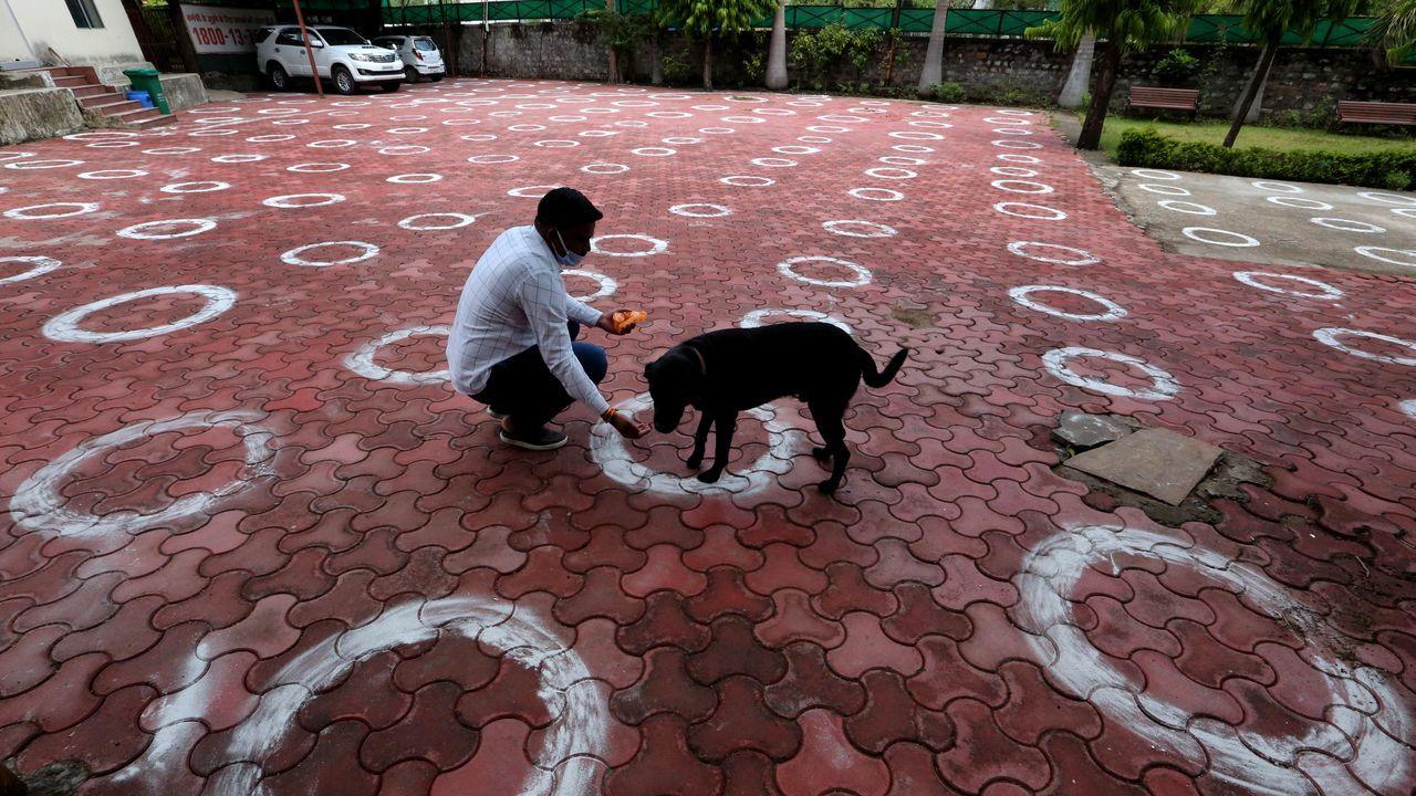 En muchos puntos de India han recurrido a círculos trazados en el suelo para marcar la distancia social