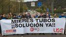 Corte de carretera por los trabajadores de Mieres Tubos