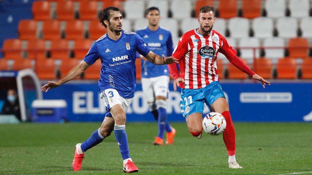 Edgar Gonzalez Lucas Ahijado Martin Valjent Mallorca Real Oviedo .Arribas y Carrillo, durante el Lugo-Real Oviedo