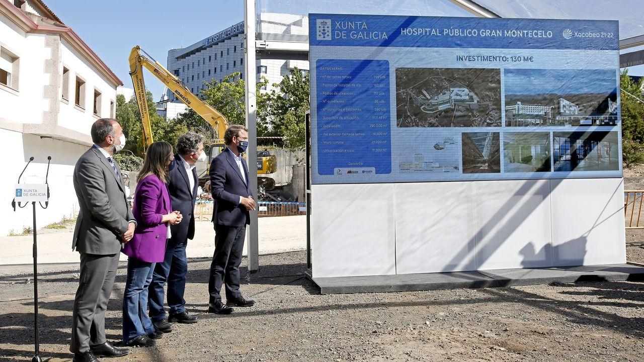 Los conselleiros de Sanidade e Infraestruturas, el alcalde de Pontevedra y el presidente de la Xunta, este lunes, en el acto de inicio de las obras del Gran Montecelo