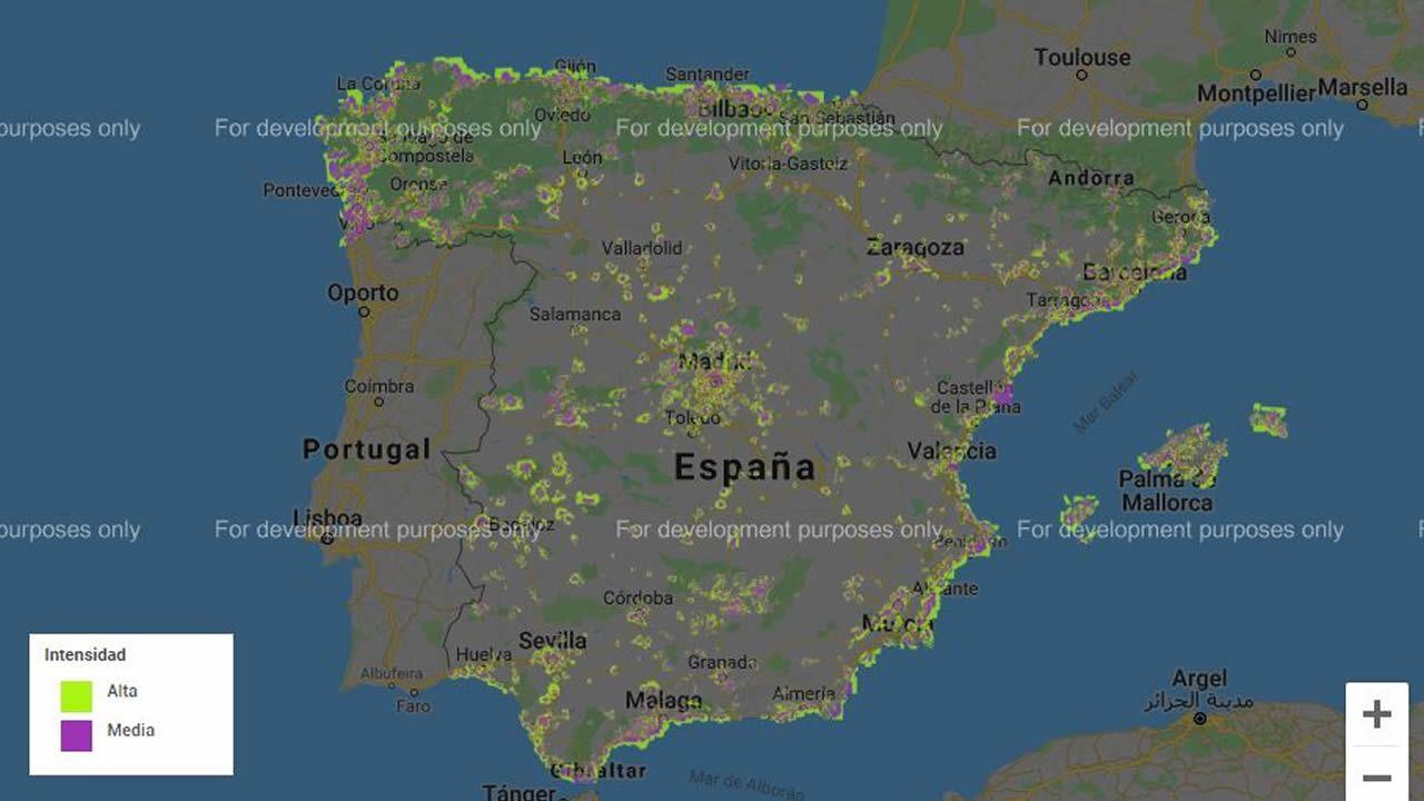 Cobertura de 4G+ en España de Movistar