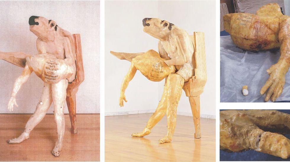 Degradación desde 1995 hasta el 2013 de la obra «Nemeas Limón», una escultura de Leiro.