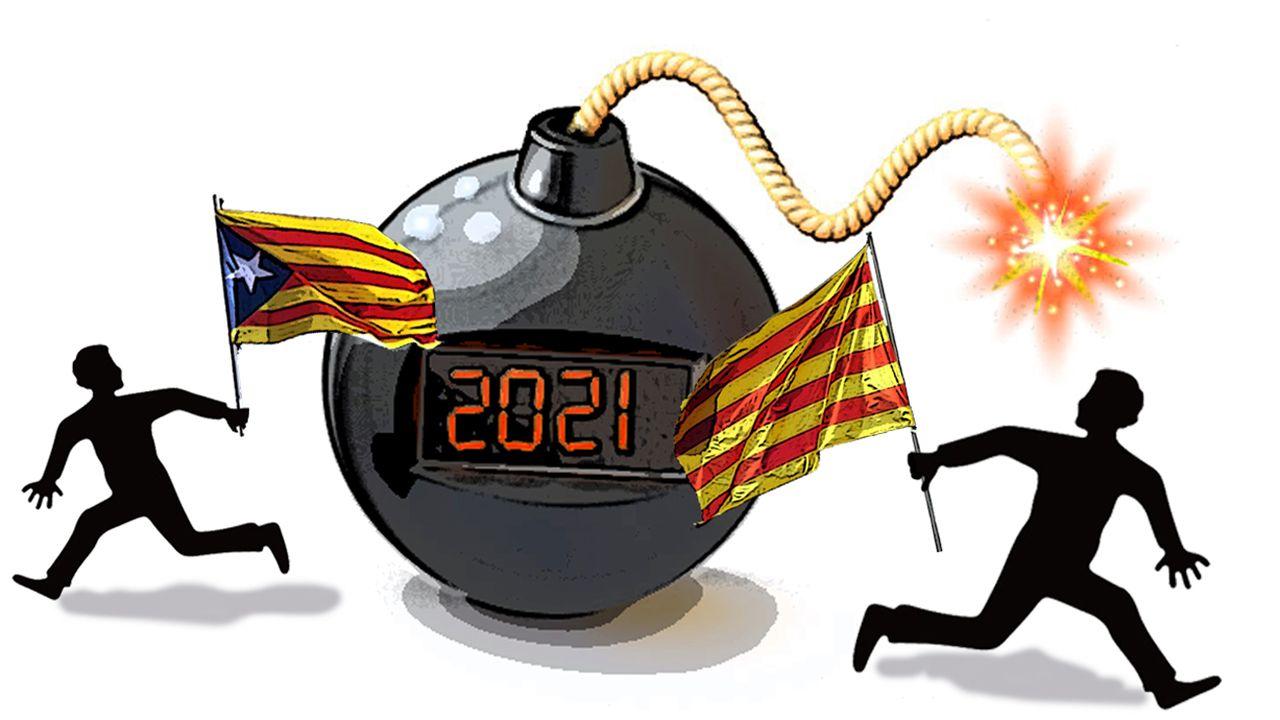 Iceta e Illa, en la toma de posesión del primero el día que el segundo abandonó el Gobierno.Joan Canadell, número dos de la lista de Puigdemont, presentando en TV3 su mascarilla 100% catalana