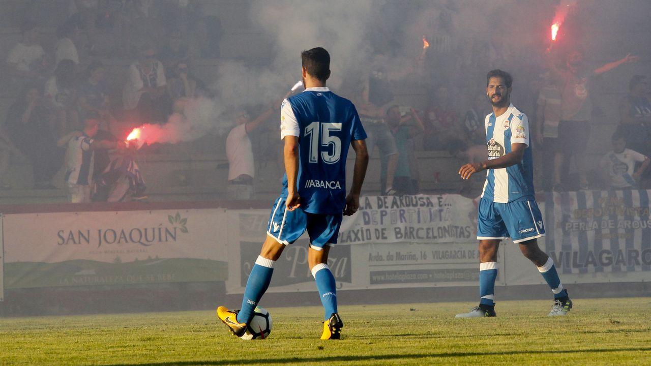 Las mejores imágenes del Cerceda - Deportivo.Cortina y Diegui en un entrenamiento, con Ortiz al fondo