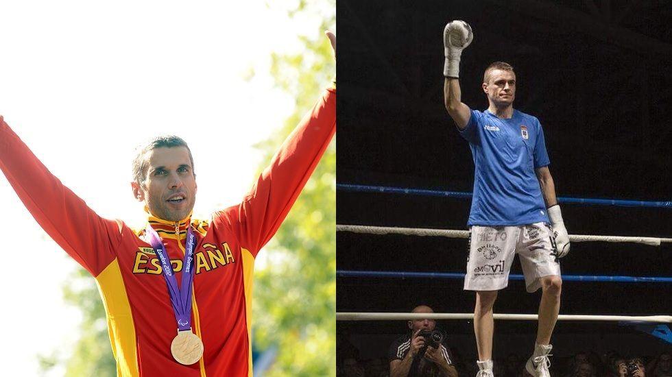 Alberto Suárez Laso tras conseguir el oro en los Juegos Paralímpicos de Londres 2012. Aitor Nieto celebra su victoria con la camiseta del Oviedo