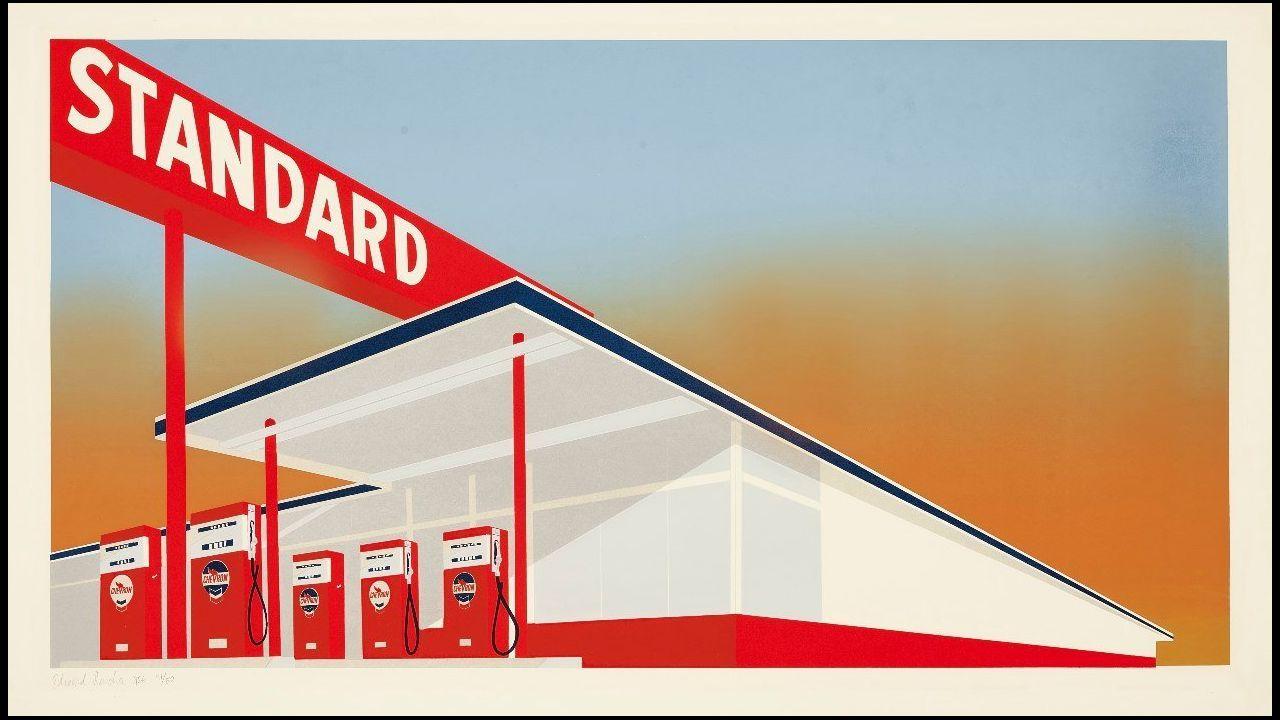 Oviedo .Detalle de la serigrafía de Ed Ruscha «Standard Station» (1966), que forma parte del lote a subasta