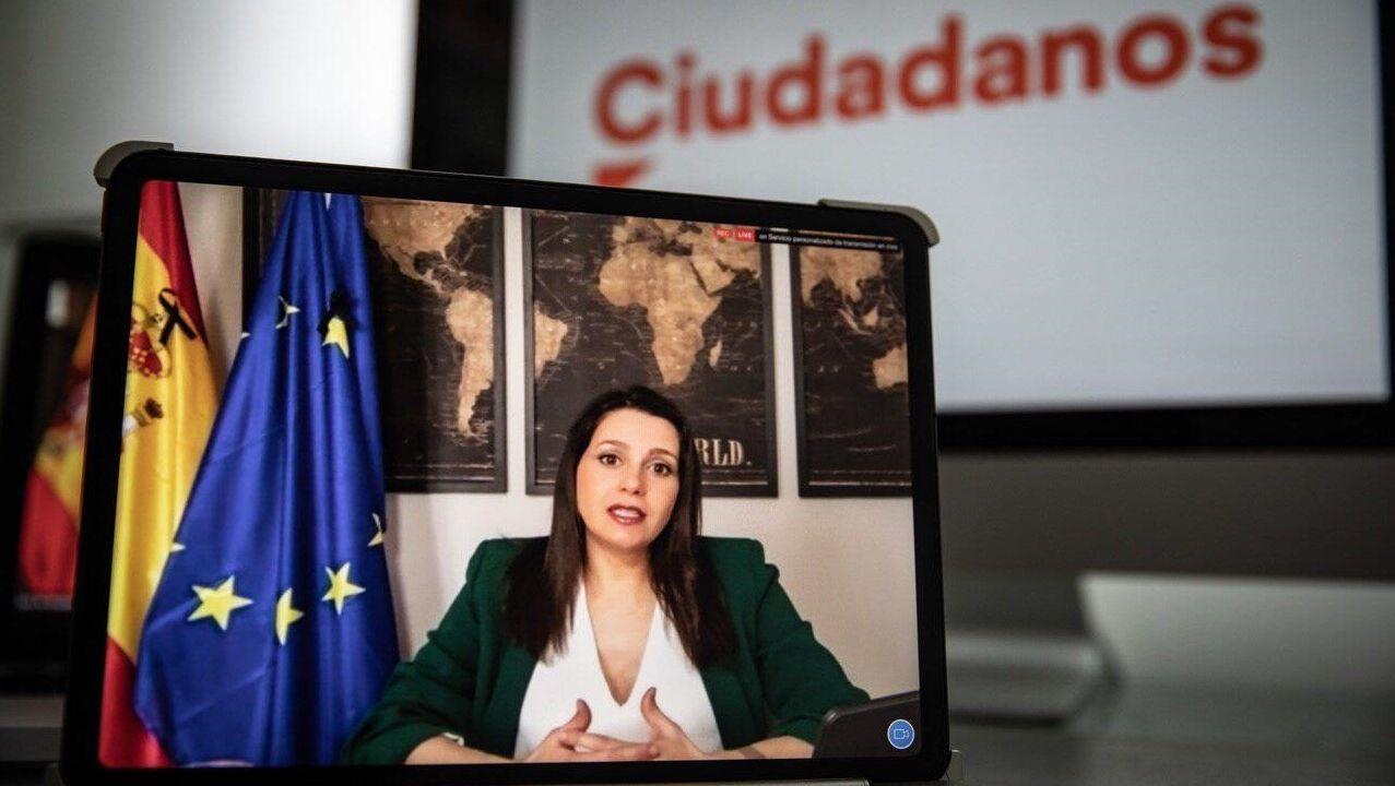 Barbanza, cantera de estrellas.Inés Arrimadas, durante el discurso de cierre de la asamblea general del partido, celebrada telemáticamente.