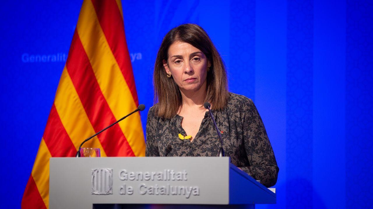 La portavoz de la Generalitat, Meritxell Budó, en rueda de prensa posterior al Consell Executiu en el Palacio de la Generalitat, en Barcelona.