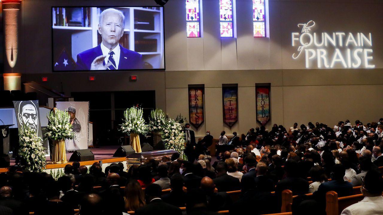 Biden intervino en un vídeo en el funeral de Floyd en su ciudad natal de Houston