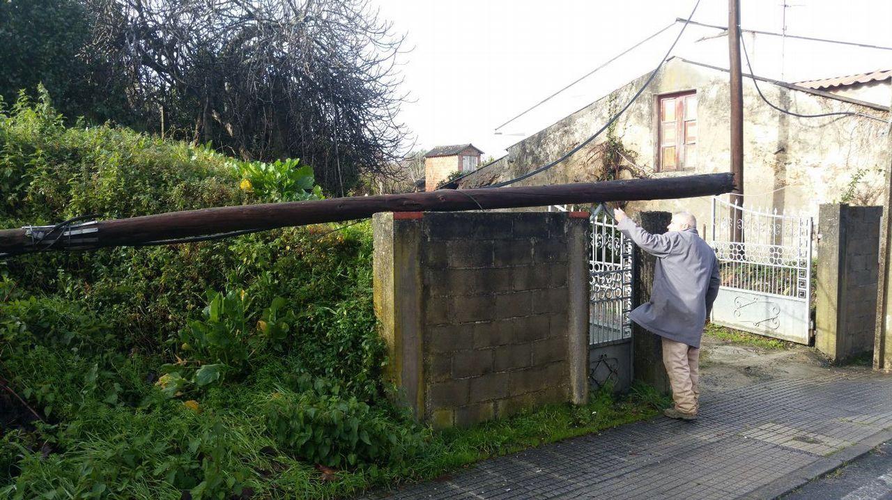 CONSECUENCIAS DEL TEMPORAL ANA: Poste de telf en Bergondo caído por el temporal