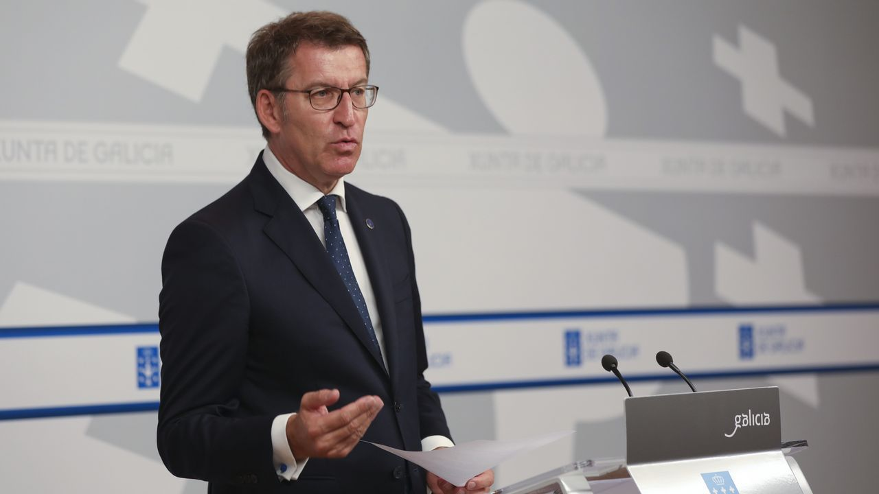 Así fue la ceremonia del BAM en Ferrol.El presidente Feijoo, ayer en la rueda de prensa posterior al Consello da Xunta