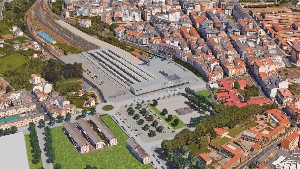 Proyecto de la nueva estación de Ferrol para la integración de trenes y buses.Entrada del Chilreu en el muelle de El Musel