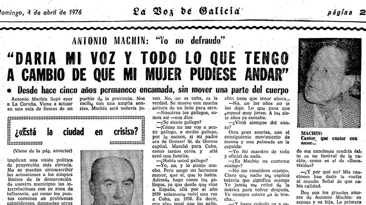 El cantante afirmó en una entrevista en La Voz en 1976 que su padre era de Ourense capital