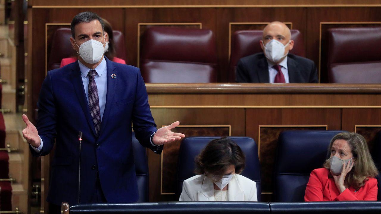 El presidente del Gobierno, Pedro Sánchez durante su intervención en la sesión de control al Ejecutivo
