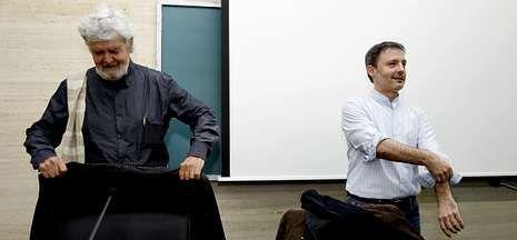 Xosé Manuel Beiras, líder de Encontro Irmandiño, y Xosé Carlos Bascuas, de Máis Galiza.