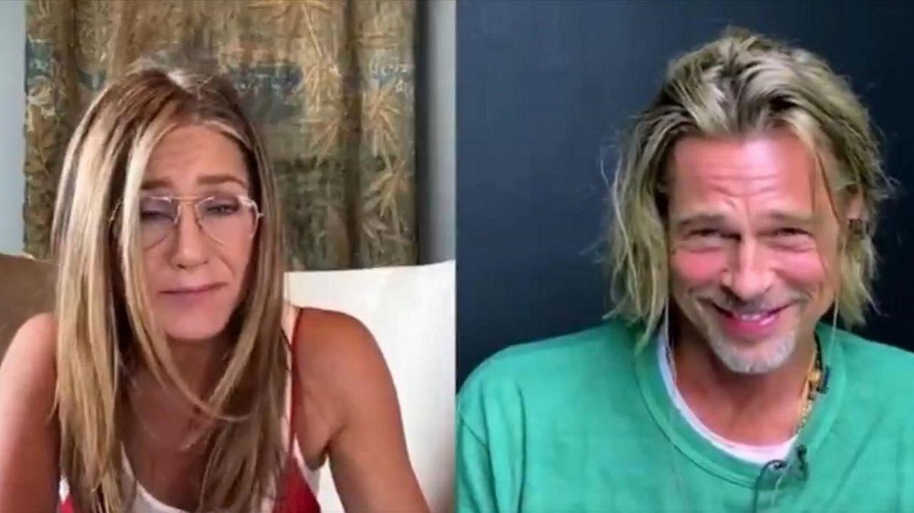 Jennifer Aniston y Brad Pitt durante la videoconferencia