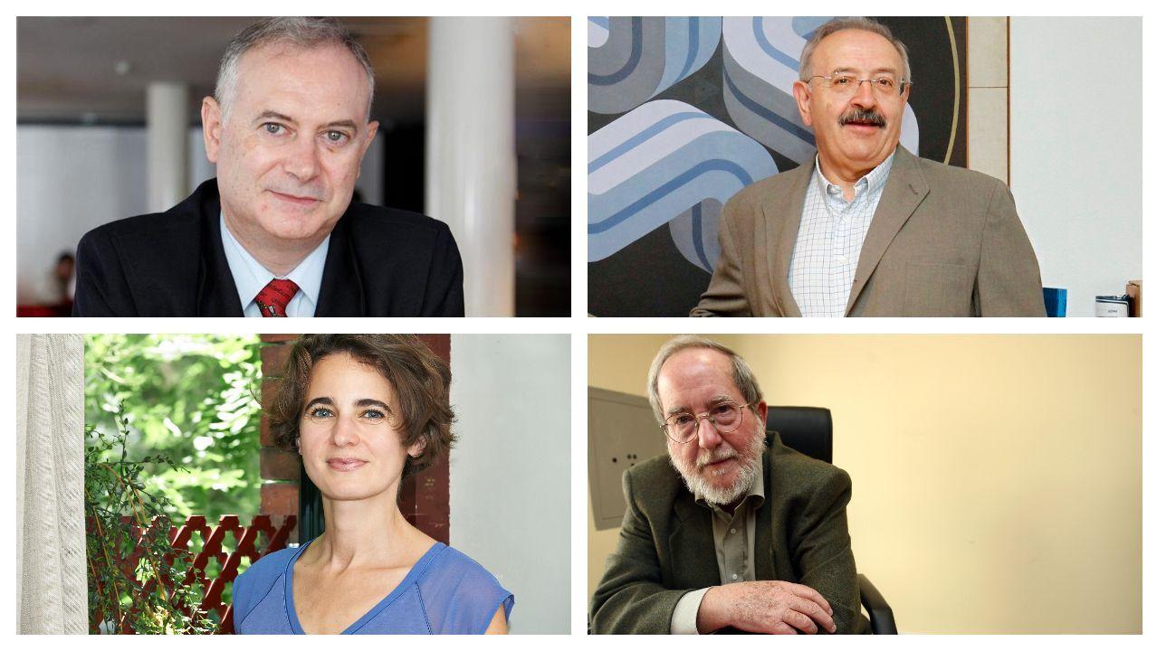 De izquierda a derecha y de arriba a abajo, Enrique Moradiellos, Ramón Villares, Laurence Debray y José García Abad