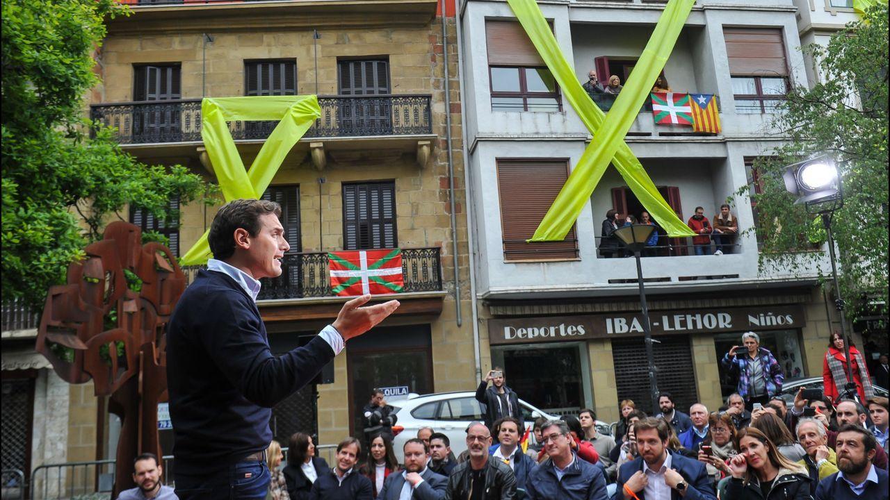 El presidente de Ciudadanos, Albert Rivera, en un mitin en Rentería el pasado mes de abril